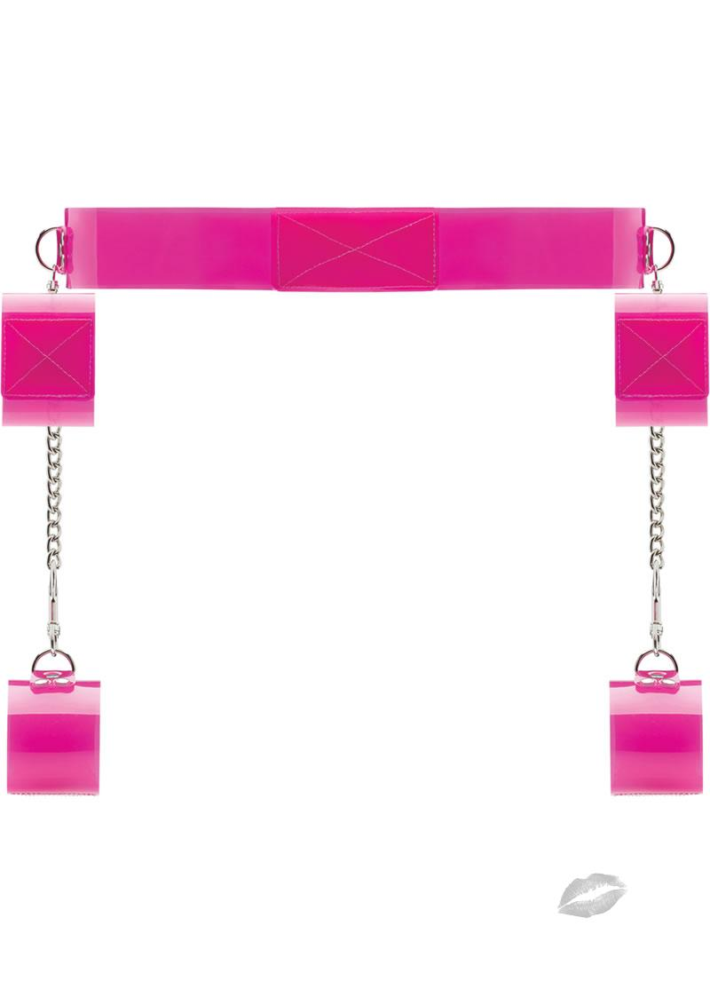 Bad Romance Bondage Belt With Velcro Pink Translucent