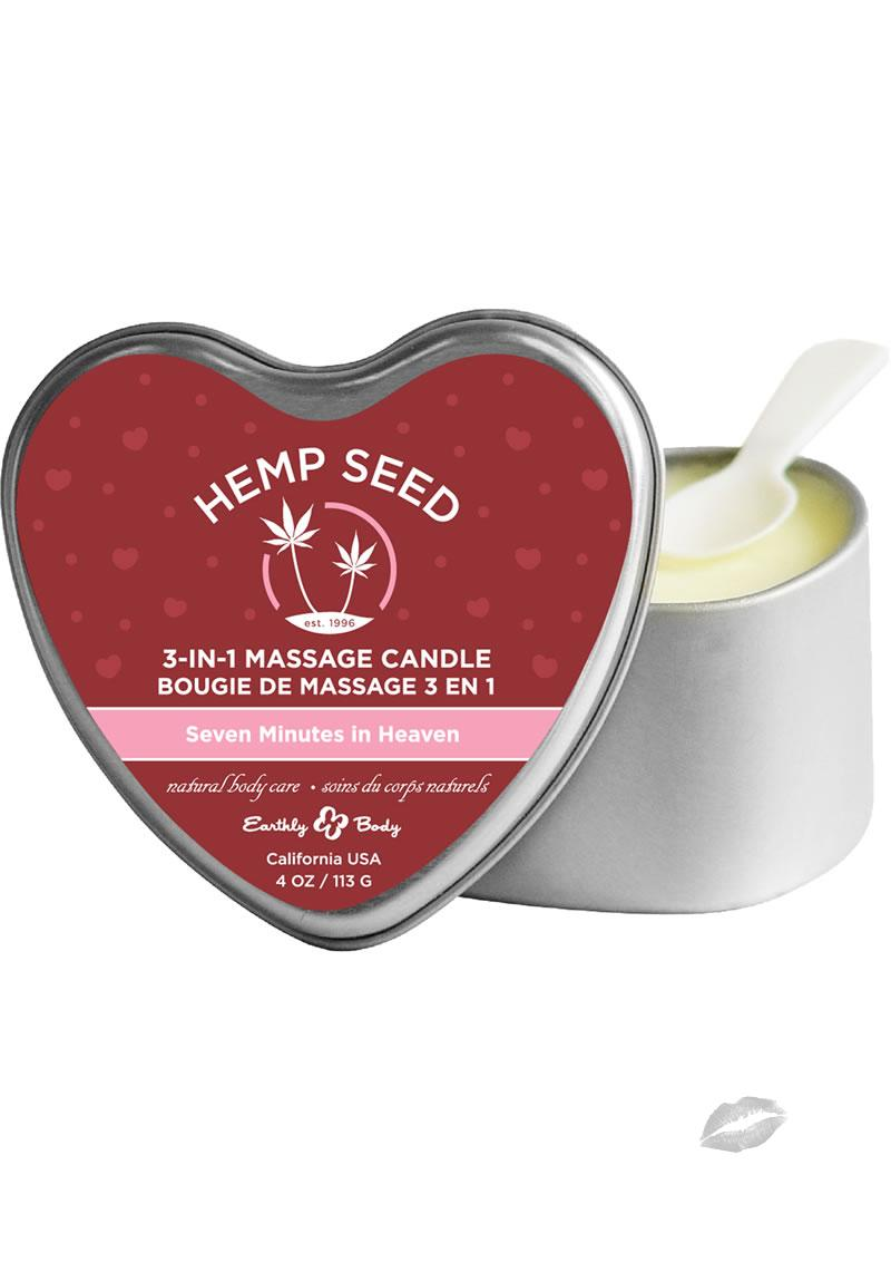Hemp Seed 3 In 1 Massage Scented Candle Seven Minutes In Heaven 4 Ounce Tin Can