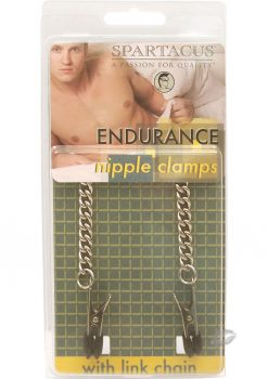 Endurance Broad Tip Nipple Clamps With Link Chain Silver