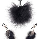 Fetish Fantasy Series Feather Nipple Clamps And Butt Plug Multi Color