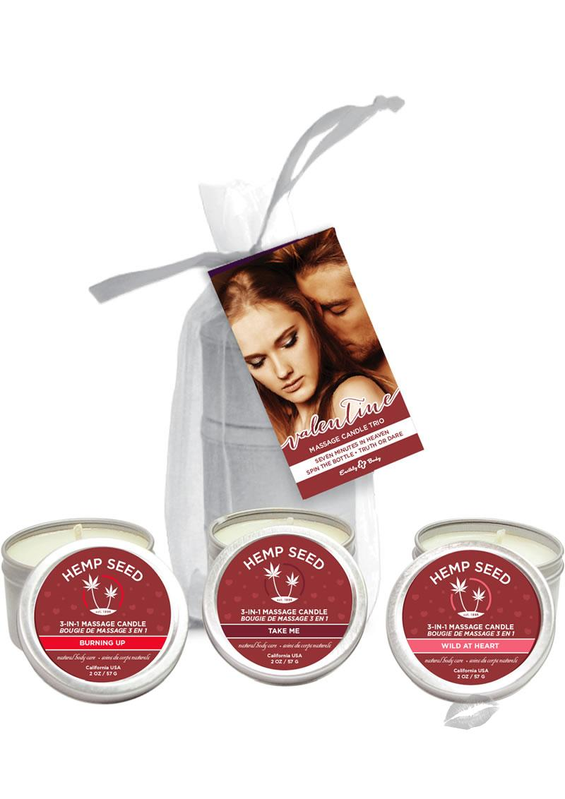 Hemp Seed 2017 Valentine Massage Candle Trio Assorted Fragrances 3 Each Per Bag