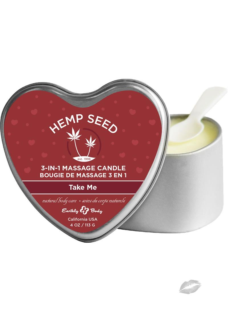 Hemp Seed 3 In 1 Massage Candle 100% Vegan Take Me 4 Ounce