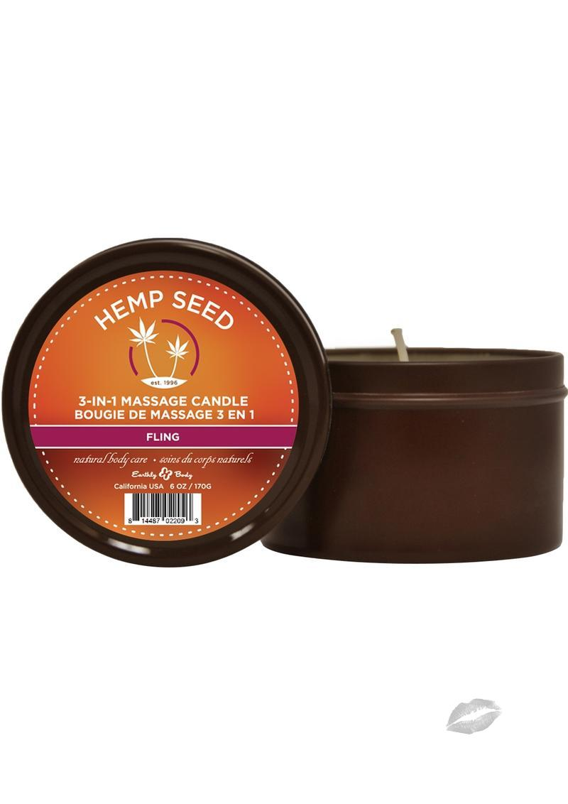 Hemp Seed 3 In 1 Massage Candle 100% Vegan Fling 6 Ounce