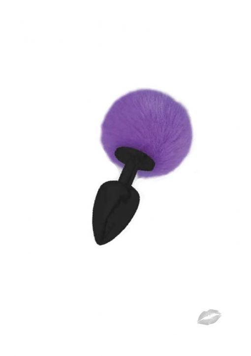 Love Tails Kali Black Medium Plug With Pom Pom Tail Purple